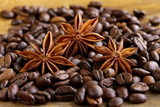 macro shot star anise on a coffee background