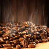 coffee beans and smoke