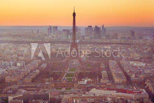 Aerial view of the Eiffel Tower in Paris