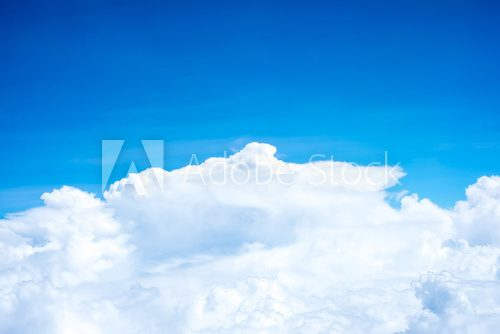 Blue sky and Cloud Top view from airplane window,Nature backgrou