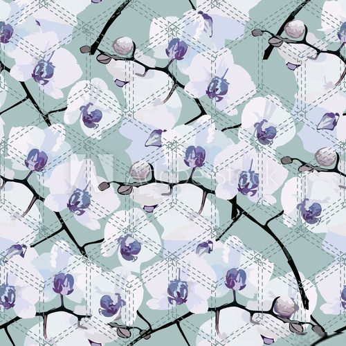 seamless pattern of flower orchids