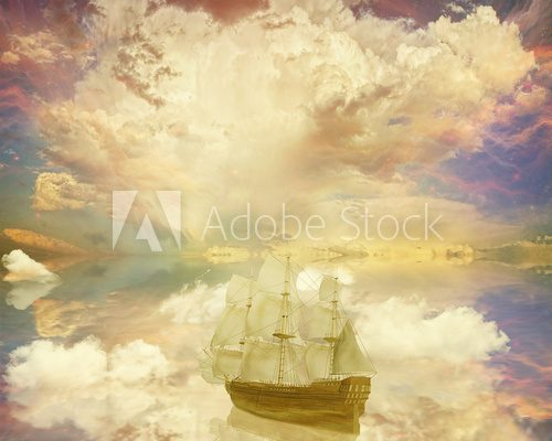Vintage classic old sailboat dreamland surrealistic star skyline