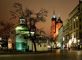 Night view of the Market Square in Krakow, Poland