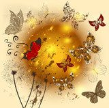 Creative flower  shiny background with butterflies
