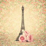 Eiffel tower with roses