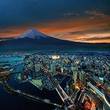 Surreal view of Yokohama city and Mt. Fuji