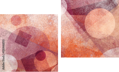 abstract modern geometric background design with various textures and shapes, floating circles squares diamonds and triangles in orange white and burgundy pink colors, artistic composition layout - Zweiteiliges Leinwandbild, Diptychon