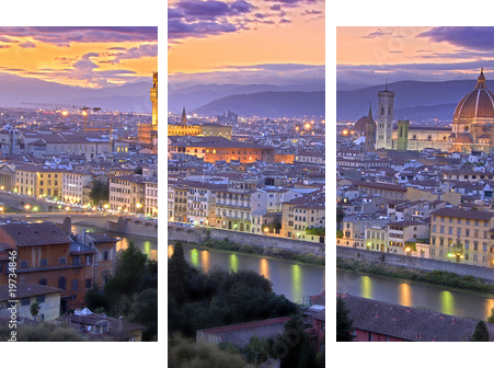 Sunset in Florence - Dreiteiliges Bild, Triptychon