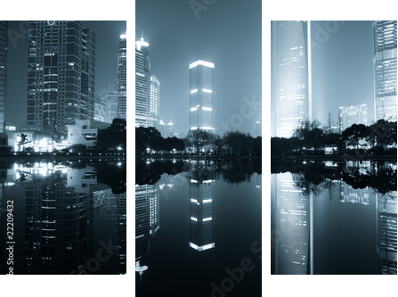 night view of shanghai - Dreiteiliges Bild, Triptychon