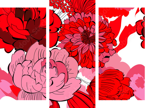 Seamless pattern with red flowers - Dreiteiliges Bild, Triptychon