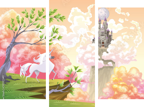 Unicorn and mythological landscape Vector illustration - Dreiteiliges Bild, Triptychon