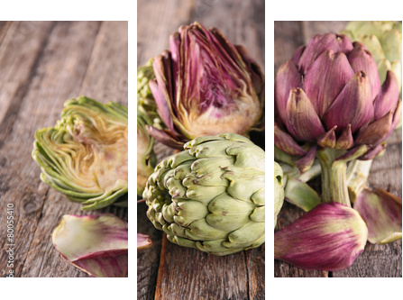 artichoke on wood background  - Dreiteiliges Bild, Triptychon