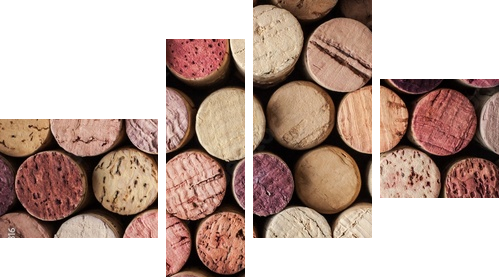 Wine corks background horizontal - Vierteiliges Bild, Viertychon