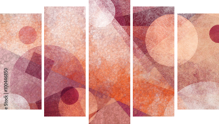 abstract modern geometric background design with various textures and shapes, floating circles squares diamonds and triangles in orange white and burgundy pink colors, artistic composition layout - Fünfteiliges Leinwandbild, Pentaptychon