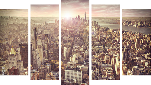 New York city skyline, sunrise in background. - Fünfteiliges Bild, Pentaptychon