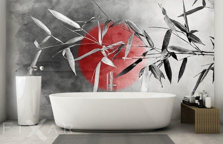 Japanische Erholung In Dem Bad. Die Orientalische Fototapete ...