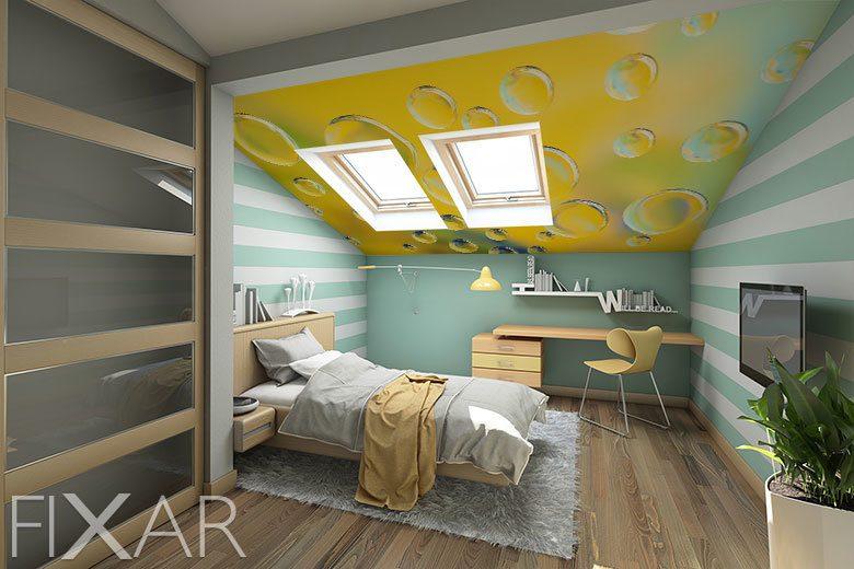 Ideales Dachgeschoss Wie Man Den Innenraum Einrichten Kann Indem Man Fototapeten Fur Dachschragen Verwendet