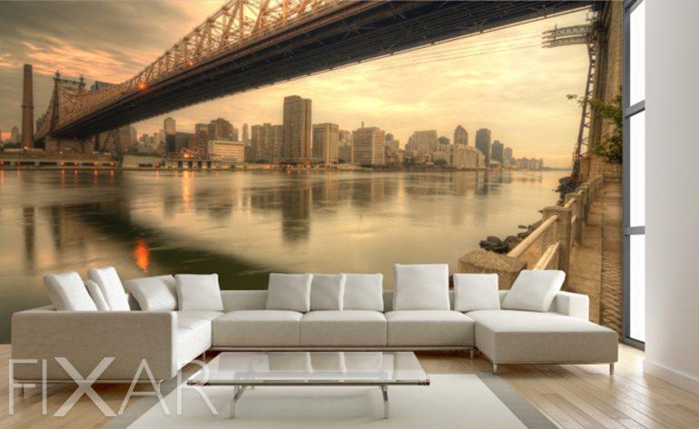 Fototapete wohnzimmer 3d  Fotografisches Fenster auf New York - Fototapete fürs Wohnzimmer ...