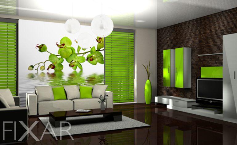 Moderne Tapeten Furs Wohnzimmer : Extravagante Gr Ne Orchidee Fototapete  F Rs Wohnzimmer