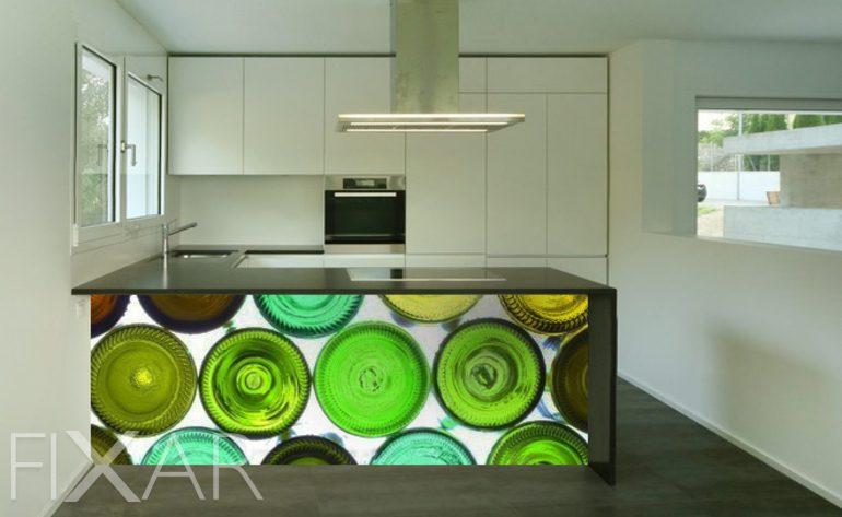 flaschen in multifarben - fototapeten für küche - küchentapeten