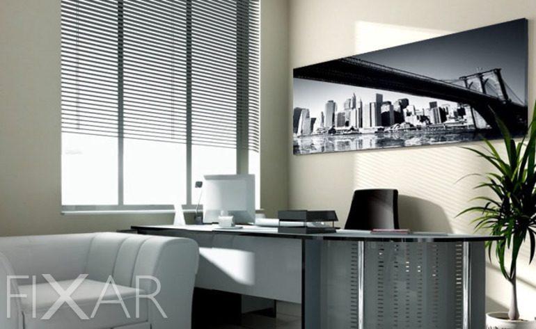 das b ro mit dem blick auf manhattan poster und. Black Bedroom Furniture Sets. Home Design Ideas
