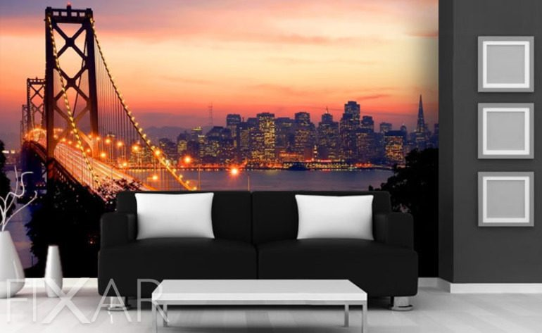 san francisco in ihrem wohnzimmer fototapeten br cken fototapeten. Black Bedroom Furniture Sets. Home Design Ideas