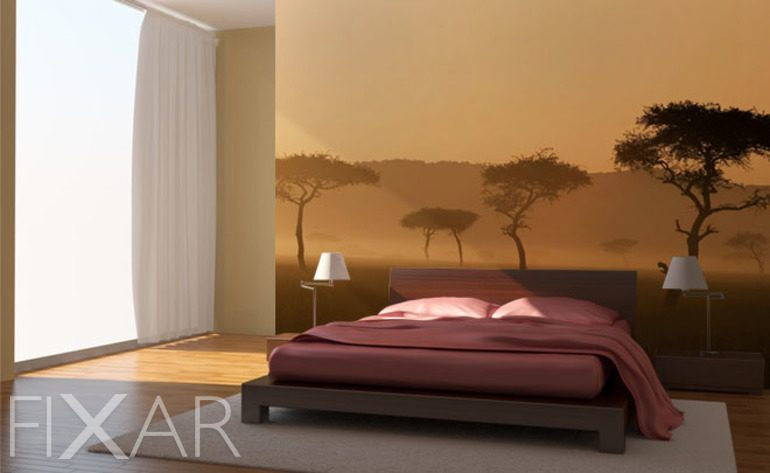 das schlafzimmer im nebel fototapete f r schlafzimmer. Black Bedroom Furniture Sets. Home Design Ideas
