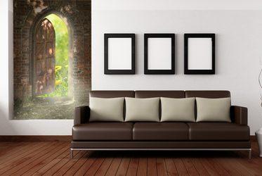 die tür auf die natur - fototapete fürs wohnzimmer - wohnzimmer, Wohnzimmer