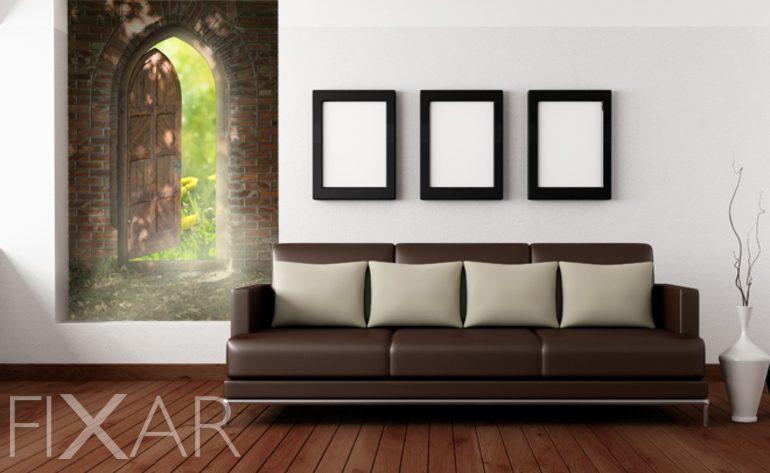 die t r auf die natur fototapete f rs wohnzimmer wohnzimmer tapeten von fixar fototapeten. Black Bedroom Furniture Sets. Home Design Ideas