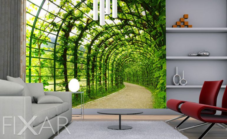 ein tunnel zu ihrem garten fototapete f rs wohnzimmer wohnzimmer tapeten von fixar. Black Bedroom Furniture Sets. Home Design Ideas