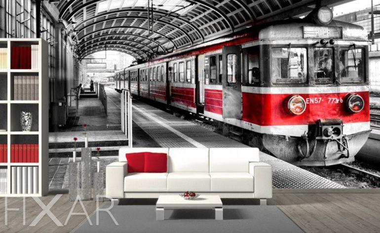 Lokomotive auf der Bahnstation - Fototapete fürs Wohnzimmer ...
