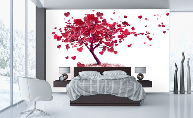 gl cksb umchen f r valentinstag fototapete f r schlafzimmer schlafzimmer tapeten. Black Bedroom Furniture Sets. Home Design Ideas
