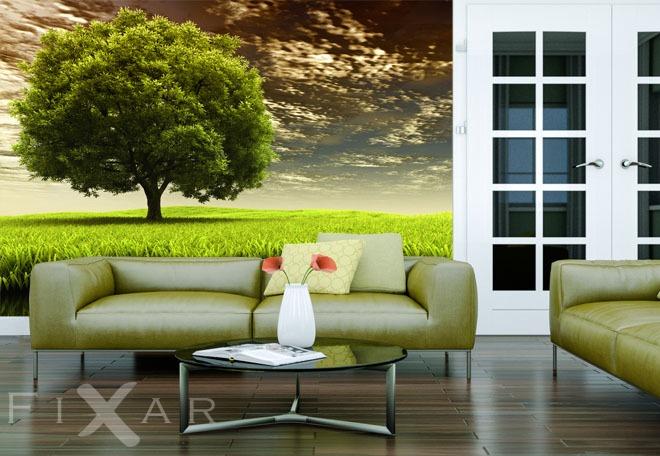 gr ner baum fototapete f rs wohnzimmer wohnzimmer tapeten von fixar fototapeten. Black Bedroom Furniture Sets. Home Design Ideas