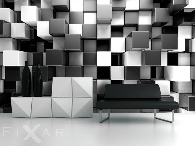 dreidimensionale quadrate - fototapeten schwarz und weiß ... - Fototapete Wohnzimmer Schwarz Weiss