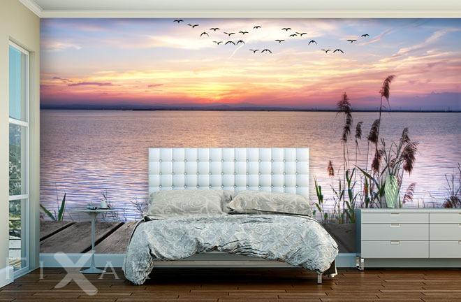 romatischer sonnenuntergang fototapete f r schlafzimmer. Black Bedroom Furniture Sets. Home Design Ideas