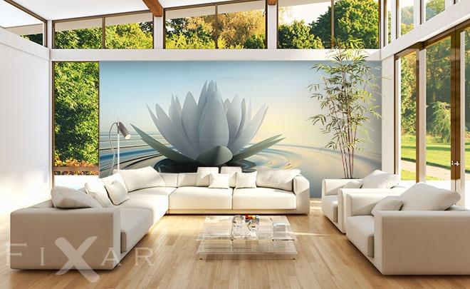 Lilie auf dem Wasser - Fototapete fürs Wohnzimmer - Wohnzimmer-Tapeten von FIXAR - Fototapeten ...