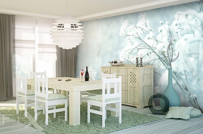 blume unter schneepulver fototapeten skandinavischen stil fototapeten. Black Bedroom Furniture Sets. Home Design Ideas