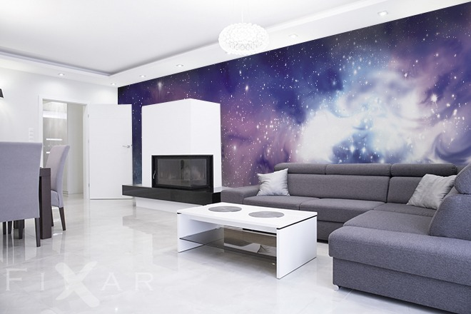 kosmischer ausflug fototapete f rs wohnzimmer. Black Bedroom Furniture Sets. Home Design Ideas