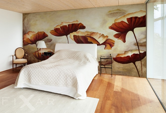 natur sepia mohnen fototapeten. Black Bedroom Furniture Sets. Home Design Ideas