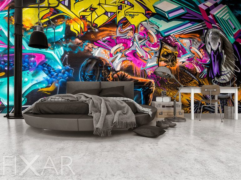 farbe, kraft und expression-glanz des graffitis - fototapeten, Hause deko