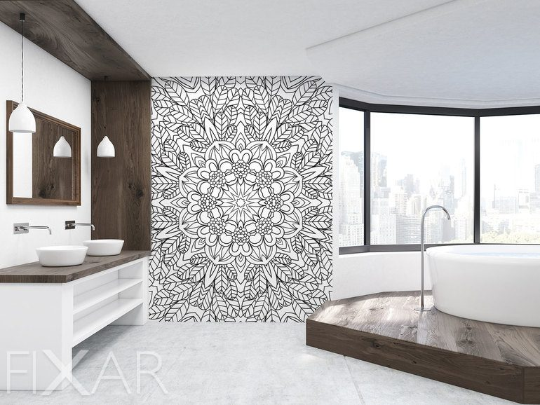 schwarz wei e mandala fototapeten f r badezimmer fototapeten. Black Bedroom Furniture Sets. Home Design Ideas