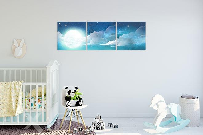 die sch nheit der nacht in einem triptychon versteckt poster und bilder f r kinderzimmer. Black Bedroom Furniture Sets. Home Design Ideas